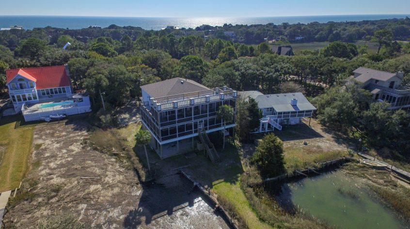 Aerial View of Tabby House, Folly Beach South Carolina
